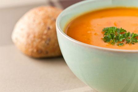 Orange juice and pumpkin soup