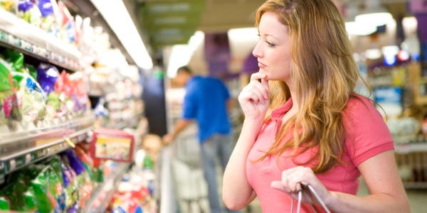 Woman shopping for organic food.