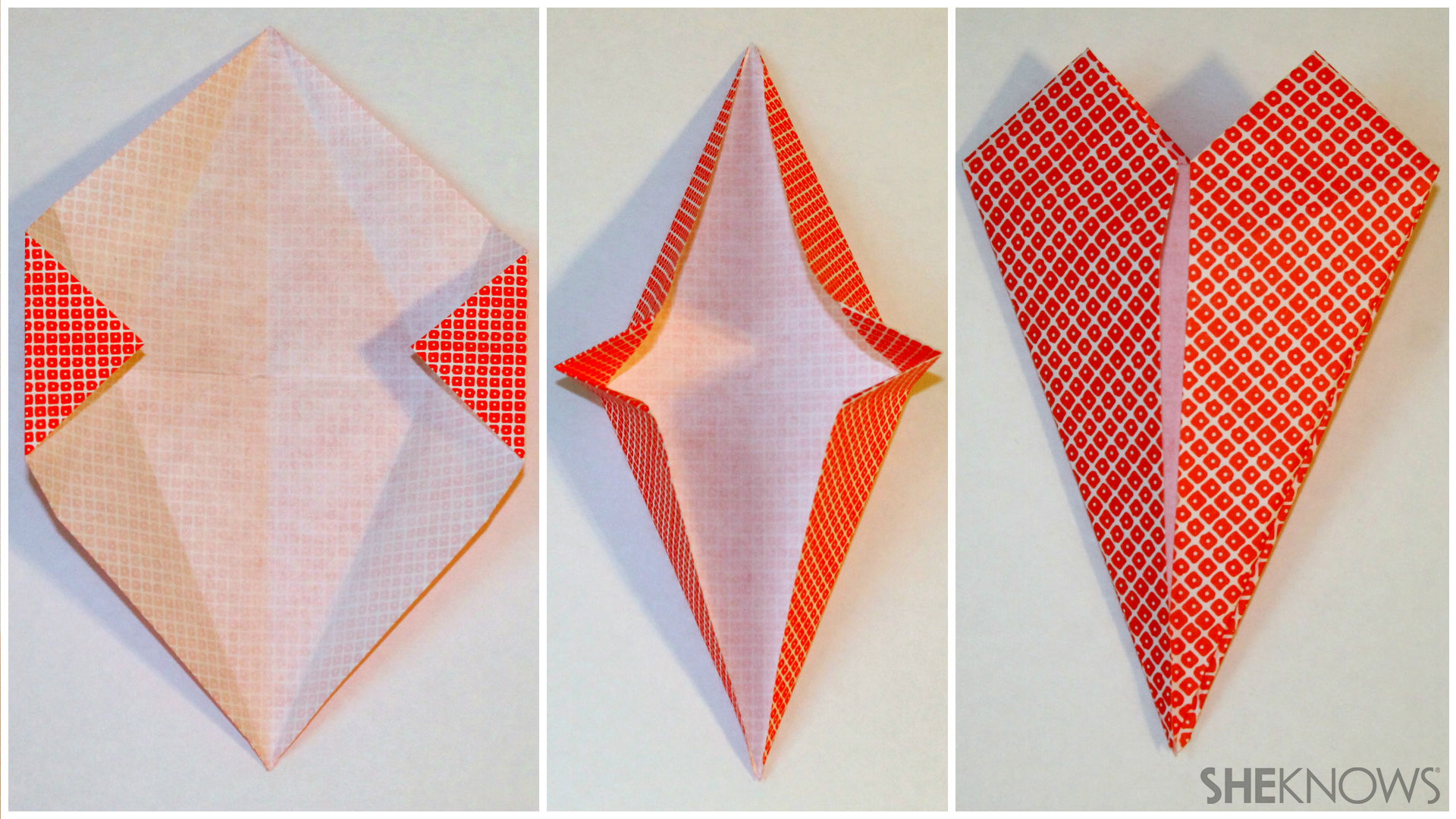 Making the heart shape out of origami paper