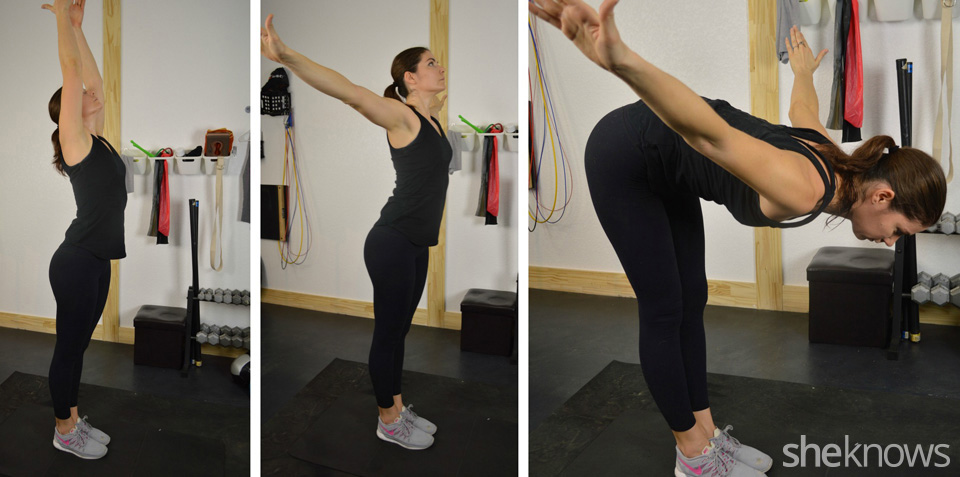 Overhead stretch to forward fold