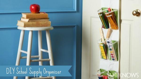A DIY school supply organizer that