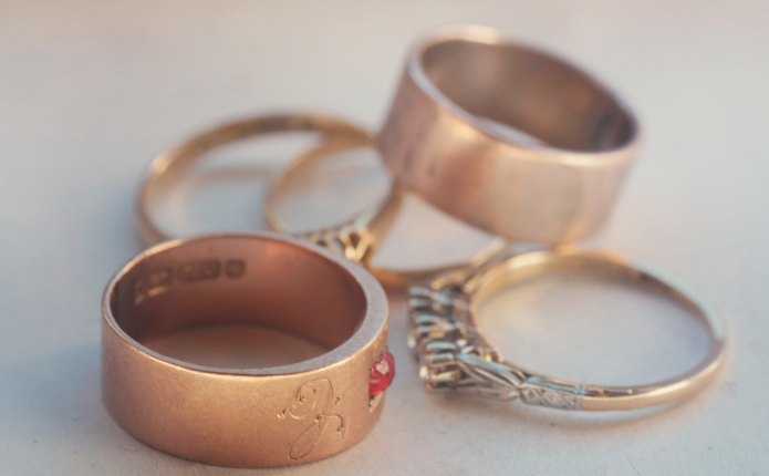 A collection of vintage gold rings.
