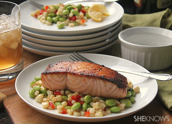 Pan-seared salmon with edamame succotoch