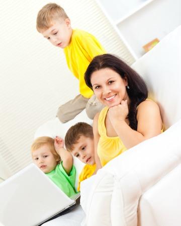 Mom with three kids