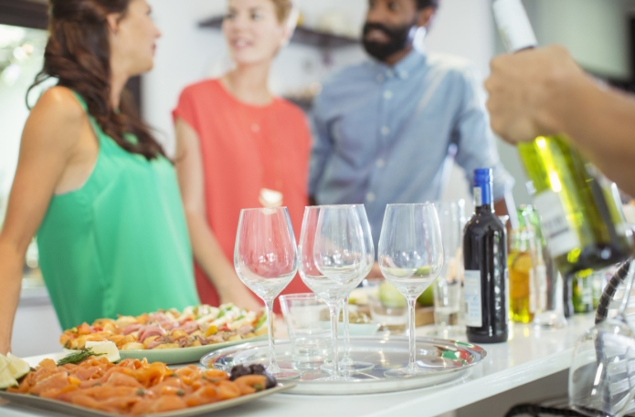 Food and wine on table at