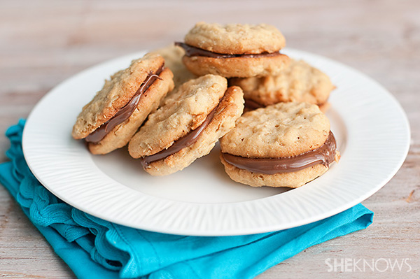 peanut butter nutella sandwich cookies