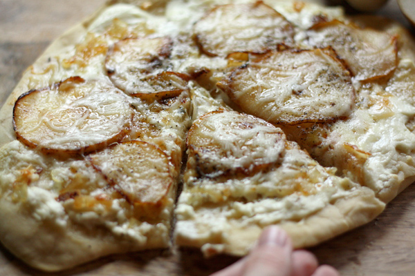 Pear and honey goat cheese pizza