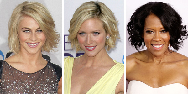 Julianne Hough, Brittany Snow and Regina King wearing bobs at the 2013 People's Choice Awards
