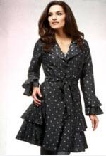 woman modeling per una belted raincoat