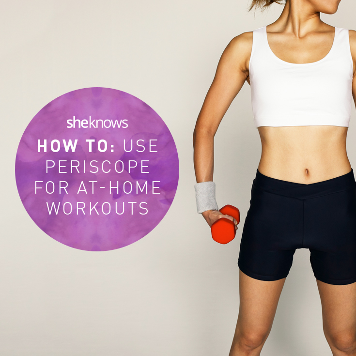 Woman working out from periscope