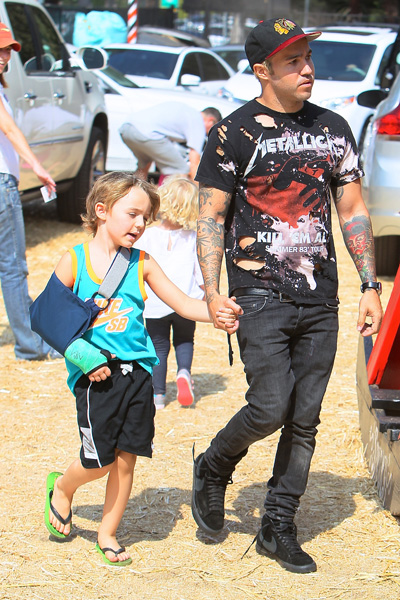 Pete Wentz and Bronx at pumpkin patch