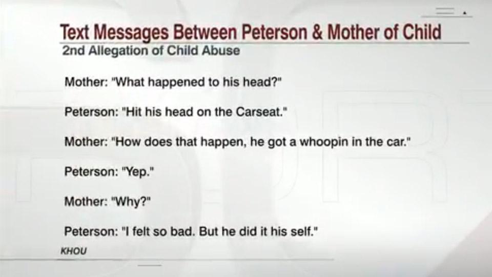 Peterson text message   Sheknows.com