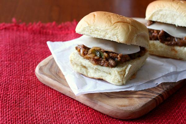 Philly cheesesteak sloppy Joe sandwich