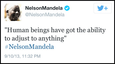 Inspirational tweet from Nelson Mandela