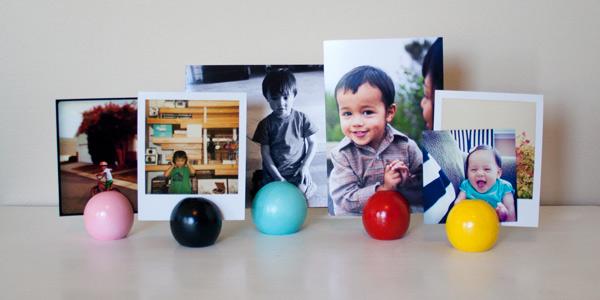 Finished DIY craft: photo display balls