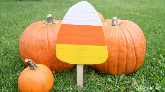 Easy candy corn yard stakes kids