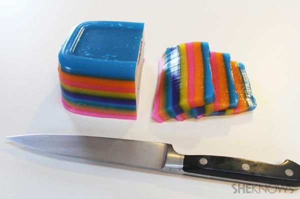 Slice the pinata-colored jello