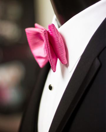 Pink bow tie on tux