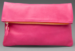 Clare Vivier leather fold over clutch