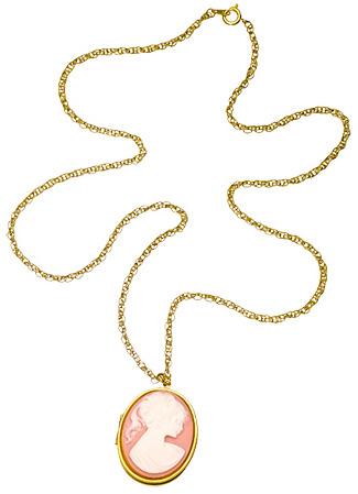 pink vintage-inspired locket necklace