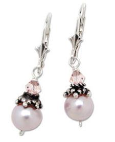 Pink pearl and crystal earrings