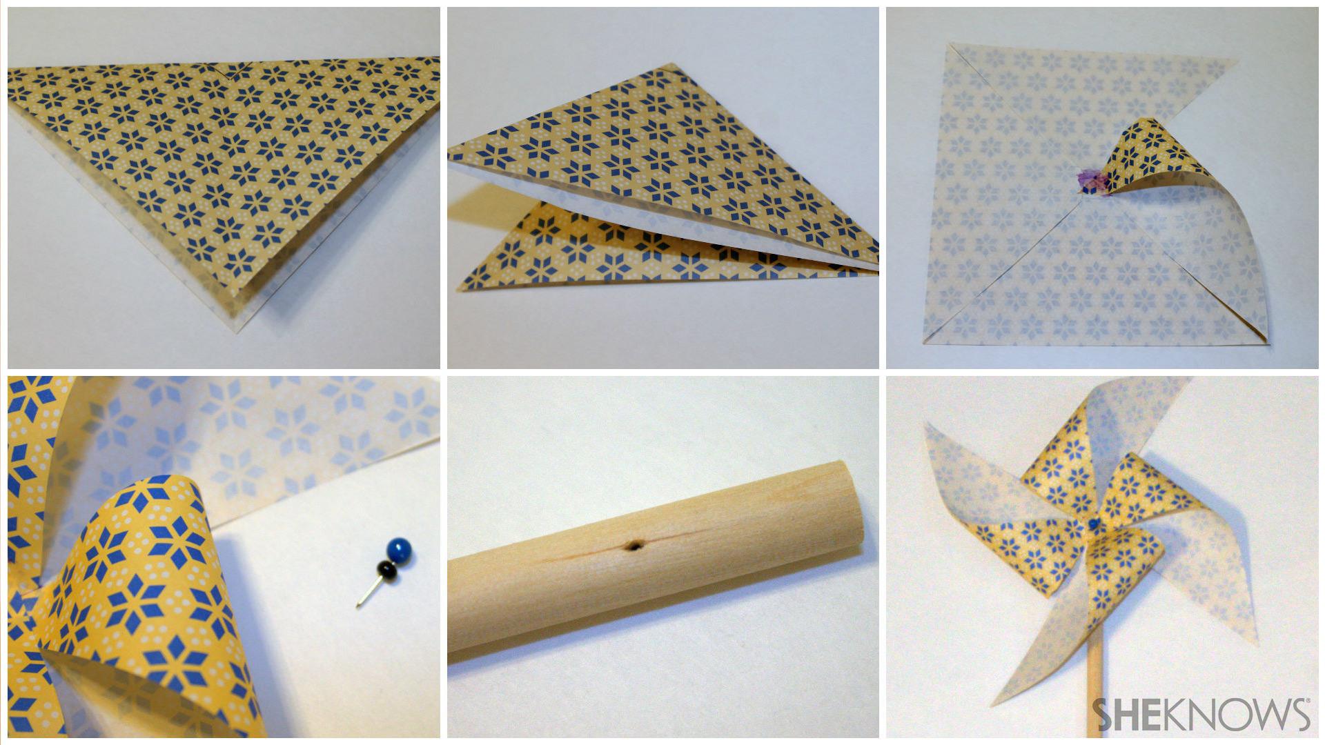 Origami paper pinwheel folding instructions