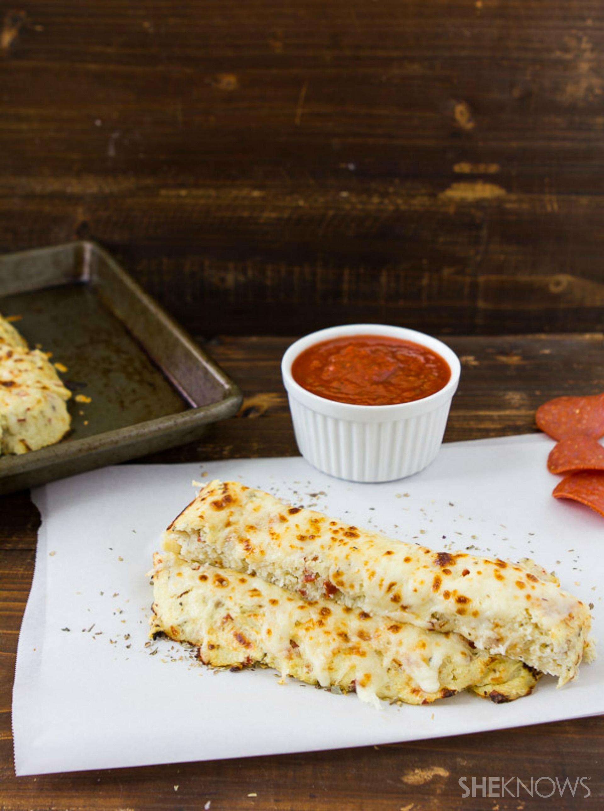 Cheesy pizza flavored cauliflower breadsticks
