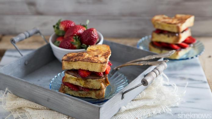 Heart-shaped Nutella-strawberry French toast stacks make