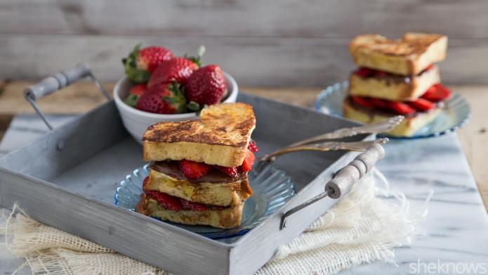 Heart-shaped Nutella-strawberry French toast stacks make