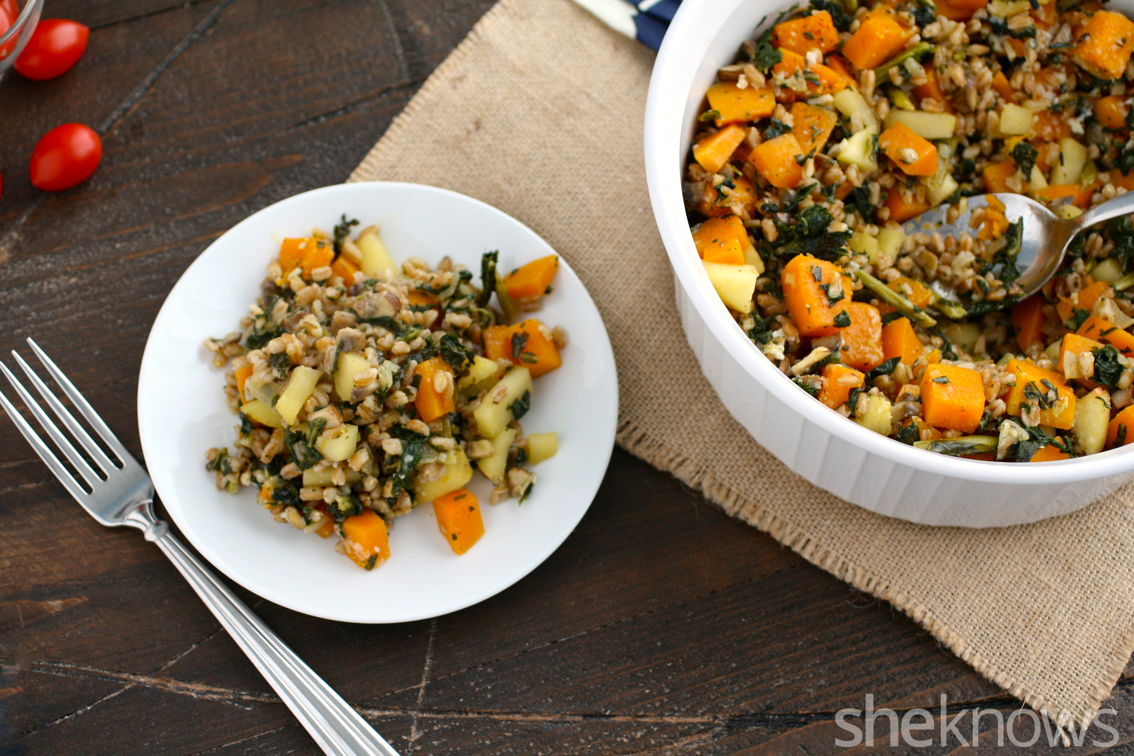 Perfect for a Meatless Monday, farro, mushroom, and butternut squash bake is as tasty as it is filling.