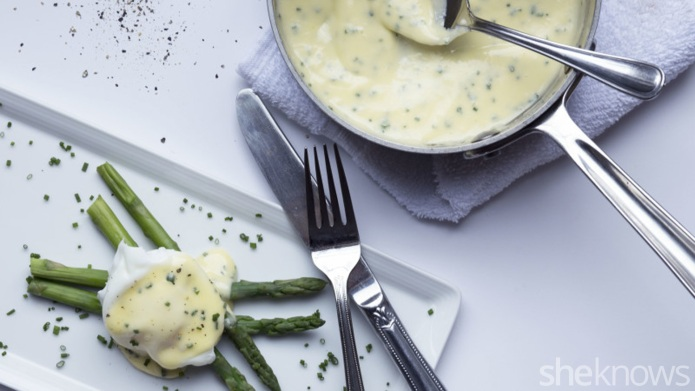 Poached eggs with hollandaise and other
