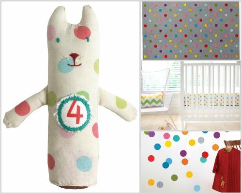 Nursery decor - Rainbow polka dots