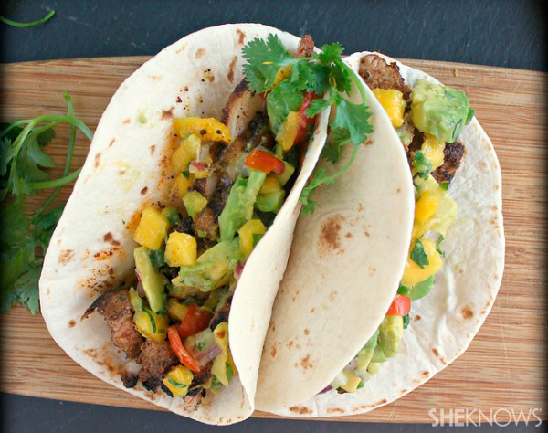 pork tacos with sweet and spicy avocado fruit salsa
