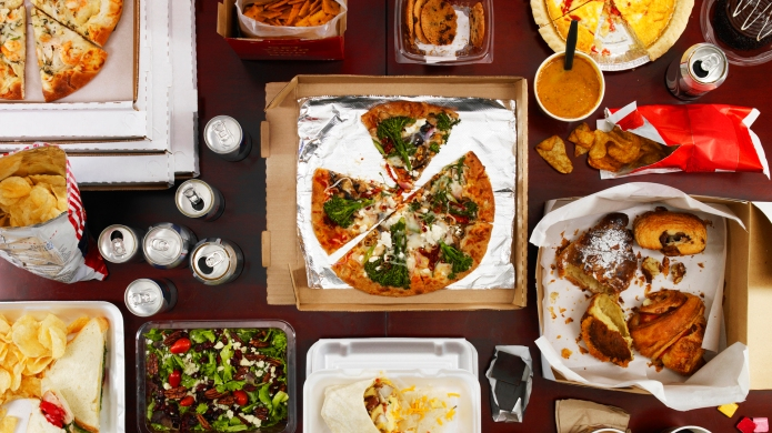 Overhead shot of junk food and