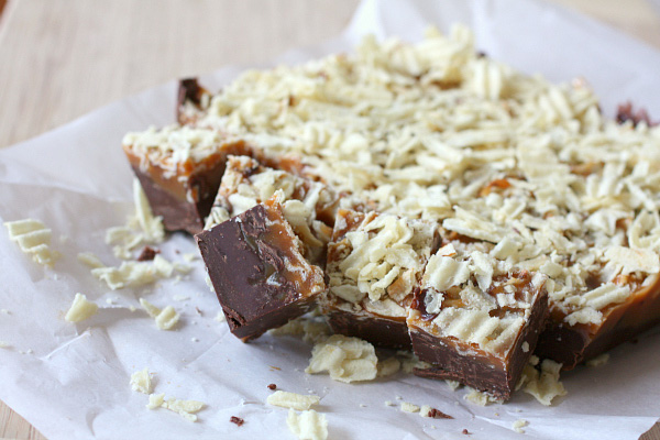 Chocolate Salted Caramel Potato Chip Fudge
