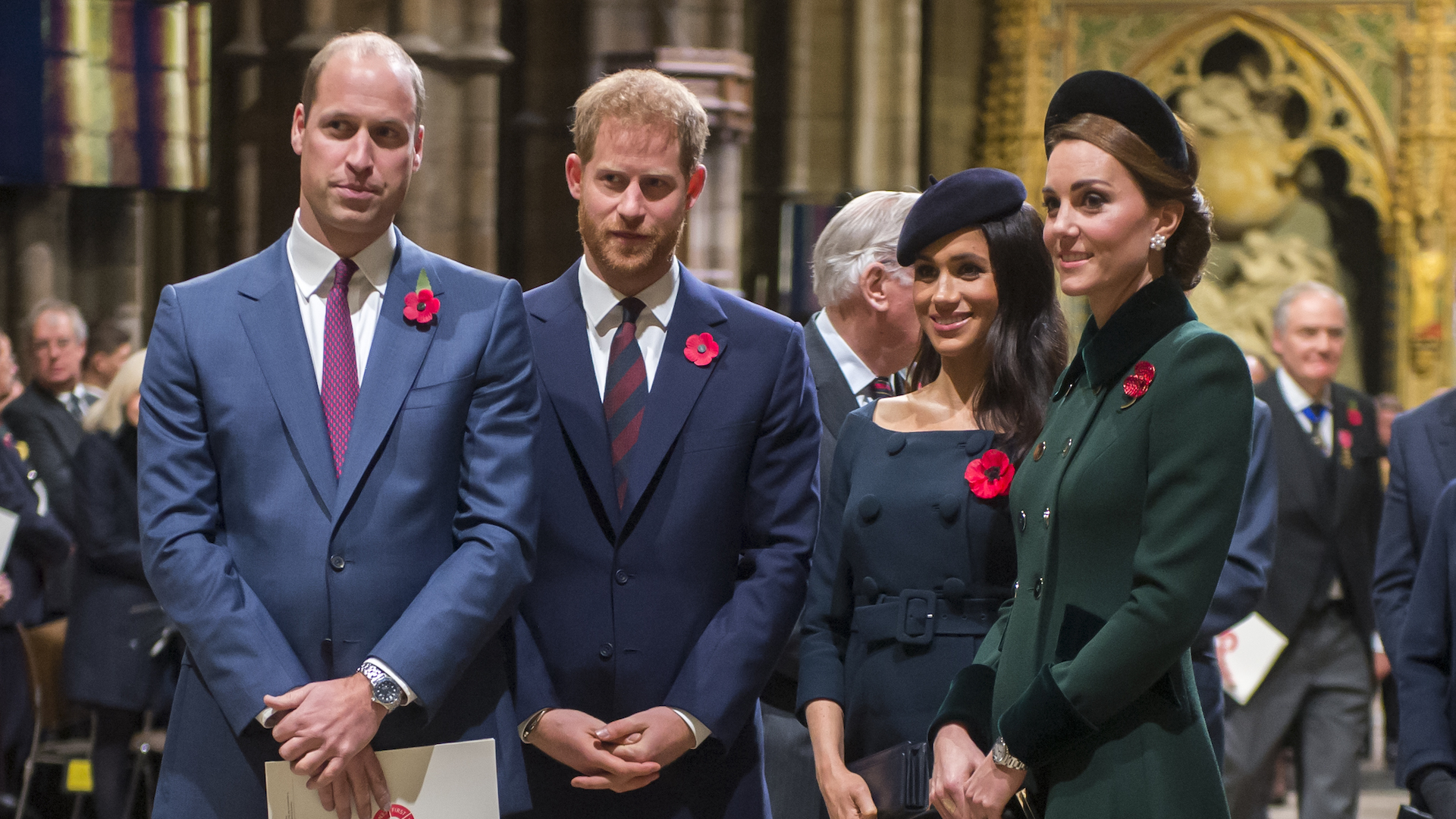 Prince William, Duke of Cambridge and Catherine, Duchess of Cambridge, Prince Harry, Duke of Sussex and Meghan, Duchess of Sussex attend a service marking the centenary of WW1 armistice at Westminster Abbey on November 11, 2018