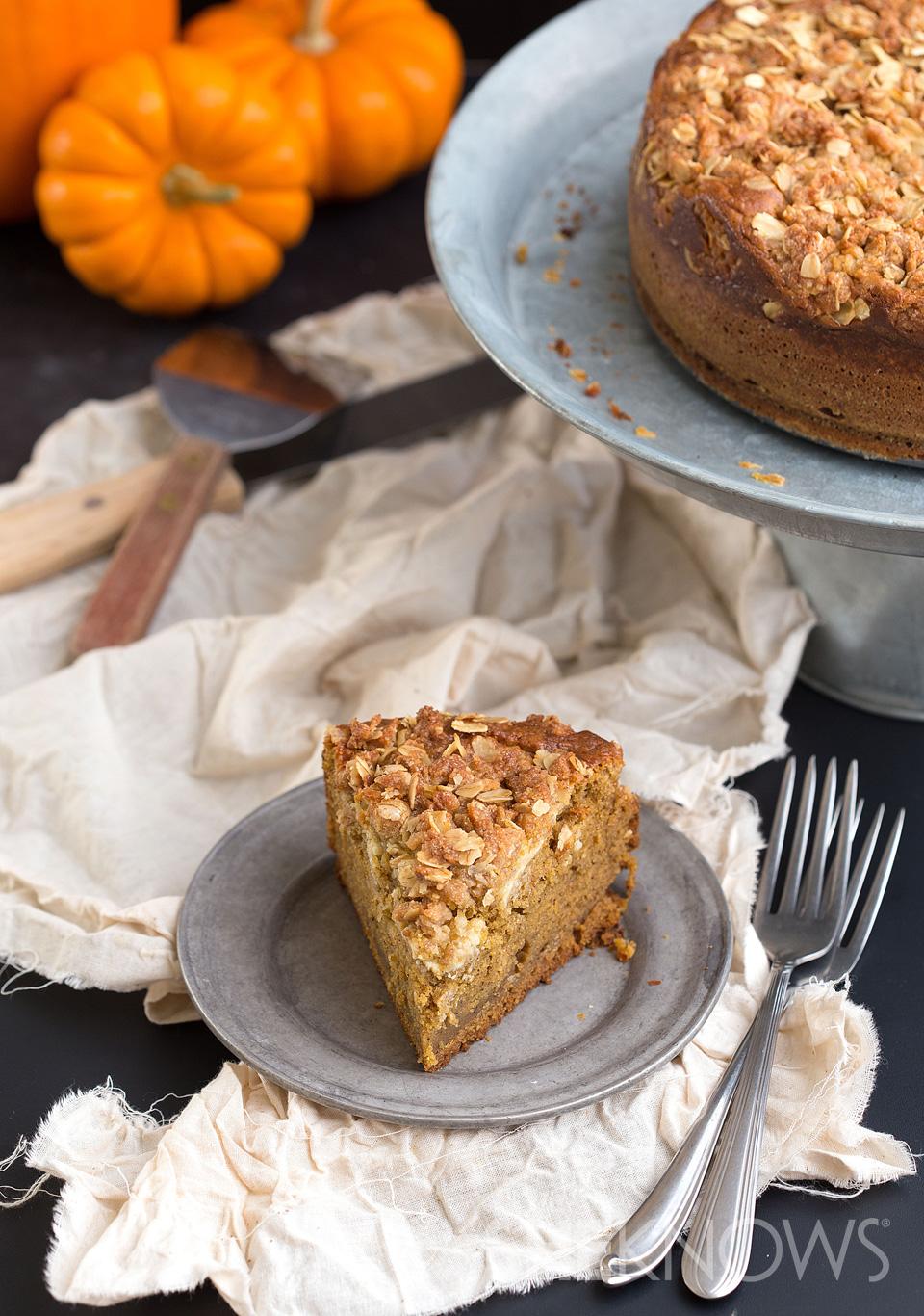 Pumpkin cheesecake swirled coffee cake