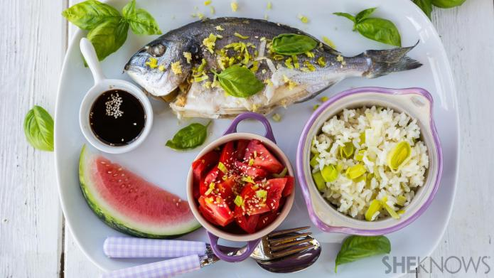 Ginger pepper fish with coconut-leek rice