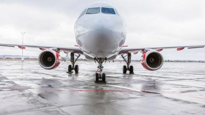 Poland, International Airport Gdansk, Airliner on