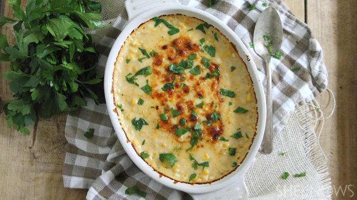 Cheesy corn casserole is creamy Thanksgiving