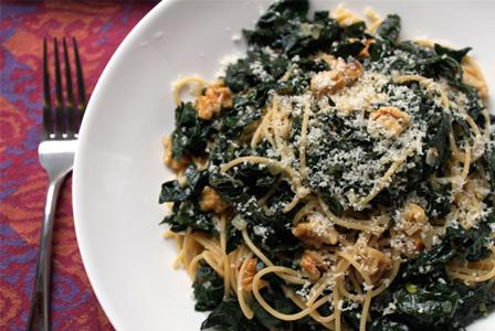 Spaghetti with braised kale and walnuts