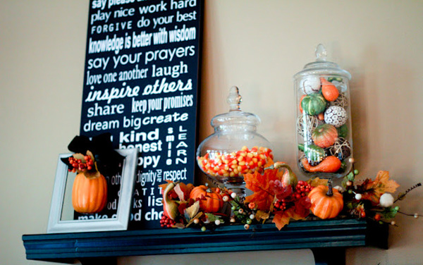 Scissors and Spatulas -- shelf decorated for Fall