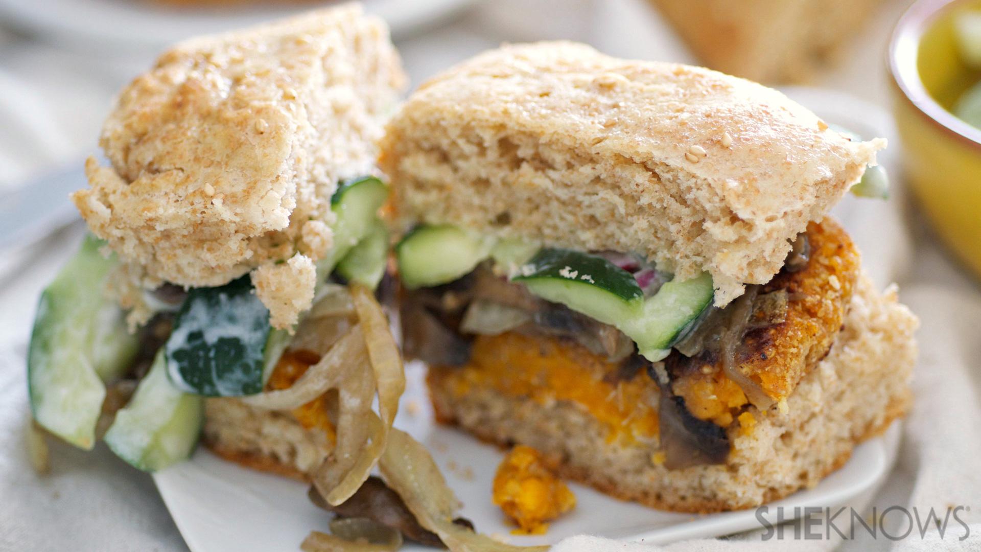 Mushroom and sweet potato burgers with coconut thai slaw