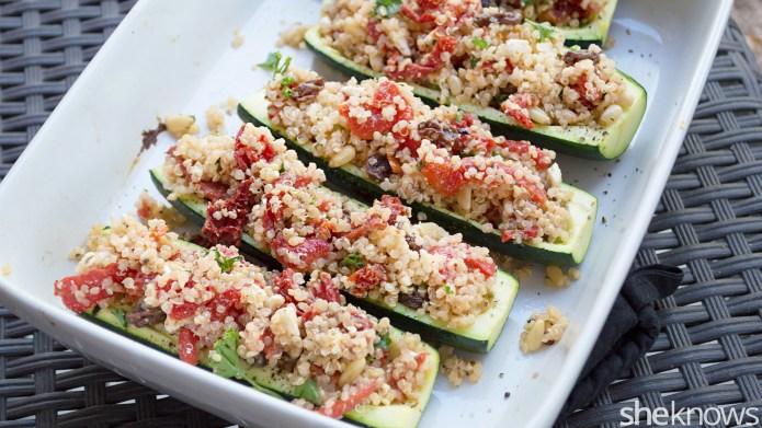 Gluten-free quinoa-stuffed zucchini boats pack a