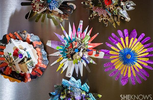 Recycled paper flower magnets