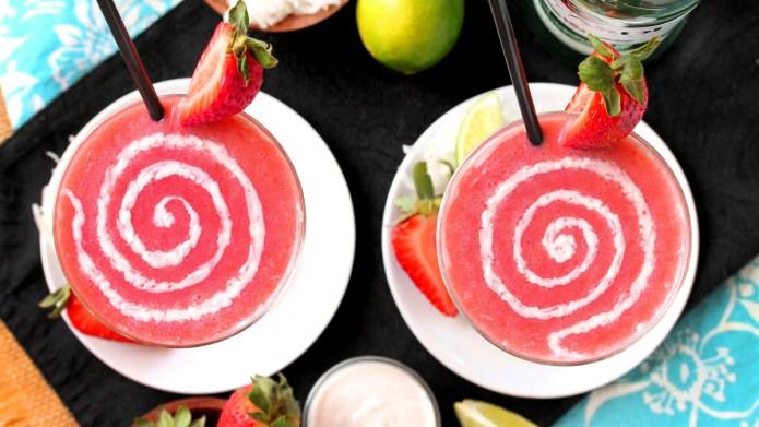 Coconut and strawberry daiquiri swirls might