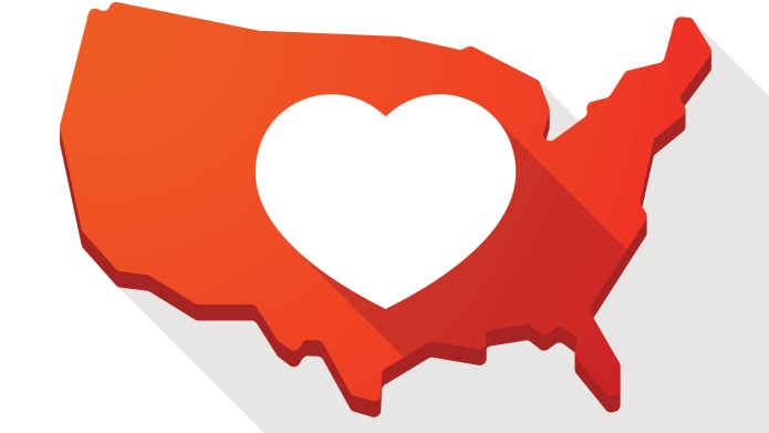 USA map icon with a heart