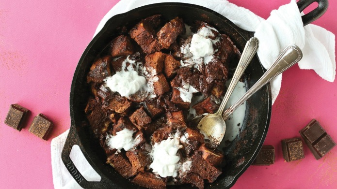 Easy double chocolate skillet bread pudding:
