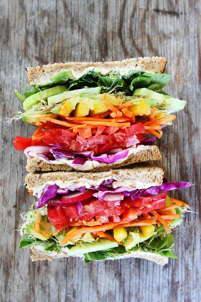 Healthy sandwich recipes rainbow vegetable sandwich.