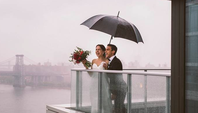 Rainy day wedding photos will make